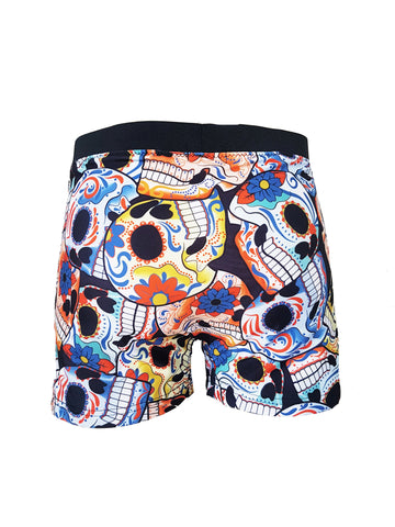 sugar skull print mens swim trunks swim shorts bathing suit | rave wear rave pants | mens shorts mens festival shorts