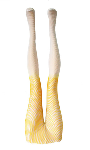 Agoraphobix yellow and white ombre fishnet tights rave leggings | tie dye leggings fishnet leggings tie dye fishnets festival leggings