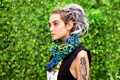colorful scarf bohemian scarf ombre print green blue and yellow gradient leopard print scarf | designer scarf large cotton silk scarf