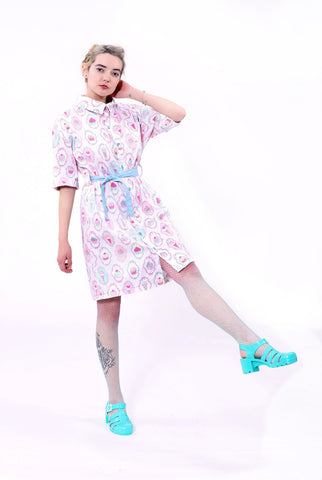 cupcake dress cupcake print oversize dress shirt dress kawaii dress cotton dress | streetwear button down dress