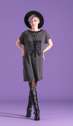 Halloween skeleton dress oversize dress rib cage print tunic tshirt dress glitter special edition |  goth dress cyberpunk clothing