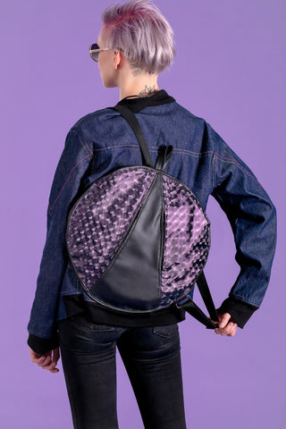 holographic bag round bag backpack leather & purple vegan leather backpack | vegan bag | futuristic cyberpunk clothing