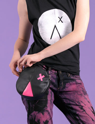 Cross face vegan bag pink black festival fanny pack bum bag daypack hip bag |round bag waist bag | pouch bag