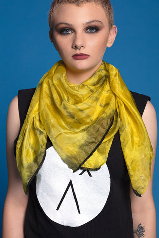 yellow & black smoke tie dye silk scarf | large silk scarf women |  hippie scarf bohemian scarf womens scarves