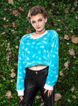 Blue skies fluffy sweater festival crop top shirt | cropped sweater kawaii sweater pastel goth clothing | 90s crop top