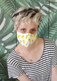 handmade pineapple print washable mask cloth face mask | reusable mask surgical mask |  rave mask apocalyptic clothing