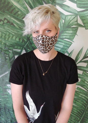 handmade leopard print cute face mask |  tiger print washable mask cloth face mask | surgical mask festival mask apocalyptic clothing