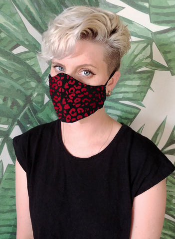 handmade red leopard print cotton facemask |  goth mask designer face mask | washable mask cloth face mask festival mask