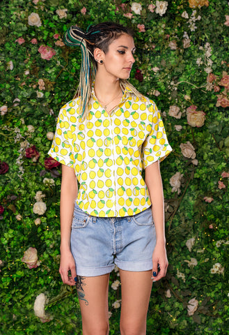 Lemon print crop top shirt button down blouse box top | fruit print cute blouse lemon shirt| linen shirt  button down shirt
