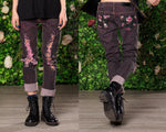 Size L Glitter skull tattoo flash print ripped dyed denim skinny jeans  | punk jeans soft grunge upcycled denim sustainable clothing
