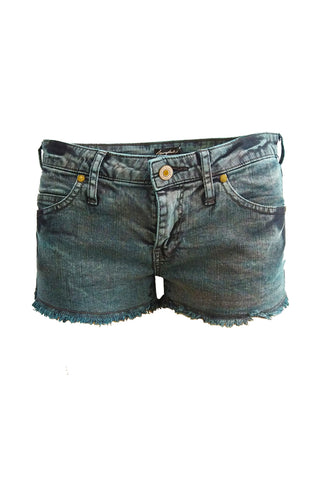Acid Wash upcycled ripped denim shorts