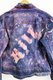 upcycled denim jacket Neon pink jacket acid splatter punk jacket