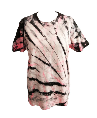 All Twisted Up Mens tie dye T shirt in Neon Pink n Black