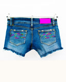 denim shorts upcycled denim ombre rainbow embroidered shorts jeans shorts neon rainbow