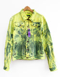 Neon yellow acid wash denim jacket 90s fashion grunge jacket upcycled denim jacket