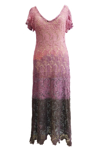 My Doily retro butterfly sleeve ombre lace dress