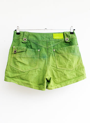green yellow ombre shorts upcycled denim shorts dip dyed shorts