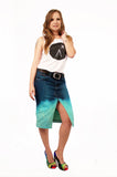 Ombre upcycled denim skirt pencil skirt dip dye skirt