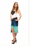 Ombre  dip dye skirt upcycled denim skirt pencil skirt