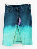 pencil skirt Ombre upcycled denim skirt dip dye skirt
