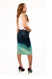 Ombre  dip dye skirt  pencil skirt upcycled denim skirt