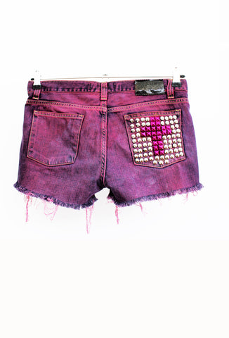 ripped studded shorts grunge shorts pink ombre upcycled denim shorts denim cut offs cross studding
