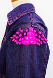 Neon pink studded jean jacket punk jacket jeans jacket upcycled denim jacket