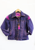 punk jacket jeans jacket upcycled denim jacket Neon pink studded jean jacket acid splatter