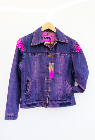 upcycled denim jacket Neon pink studded jean jacket acid wash punk jacket jeans jacket