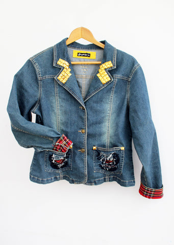 jeans jacket  90s fashion punk jacket  upcycled denim jacket studded jacket