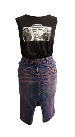 Acid angel purple plum acid wash upcycled denim pencil skirt