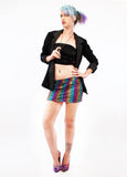 Bling Bling Rainbow Leopard Tight As It Gets Mini Skirt