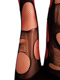 Double layered Black | Red tattered & torn fishnet tights