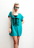 Bat Sleeve slouch rib cage print V neck  oversize tunic top
