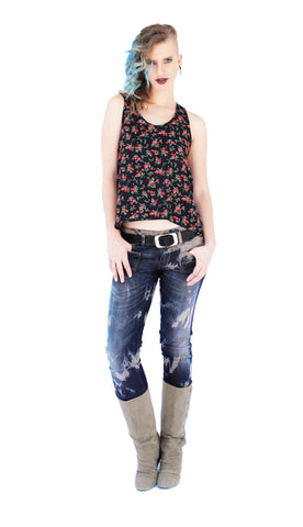 Bomb Shell bleached upcycled denim skinny jeans