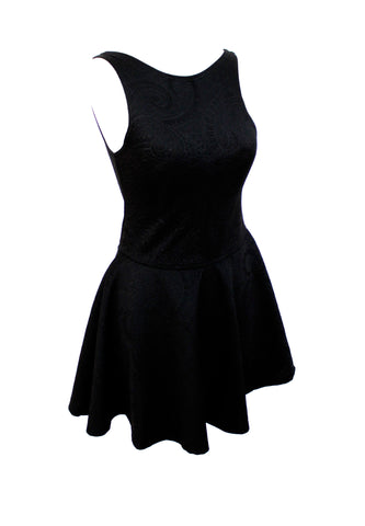 The Calipso black relif paisley skater dress