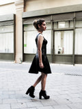 The Calipso black matte spandex skater dress