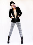 soft grunge black boyfriend blazer leopard print leggings silver leopard leggings shiny spandex leggings