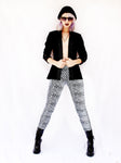 shiny spandex leggings soft grunge leopard print leggings and black boyfriend blazer silver leopard leggings