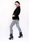 silver leopard leggings black boyfriend blazer soft grunge shiny spandex leggings leopard print leggings