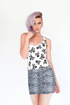 Alternative Streetwear Clothing silver leopard print mini skirt skull print bodysuite
