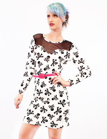 Have A Peep Skullified Fishnet & Skull Print Long Sleeve Dress