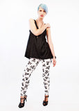 patterned leggings soft grunge high waist leggings with raglan top skull print leggings spandex leggings