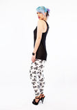 skull print leggings with raglan top patterned leggings soft grunge spandex leggings high waist leggings