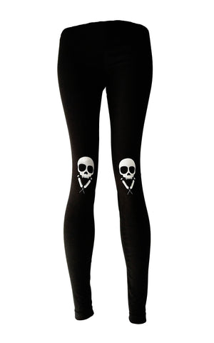 Vampire Skully syringe Knee Pad Skull Print leggings