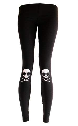 Skully Knee Pad Skull Print leggings
