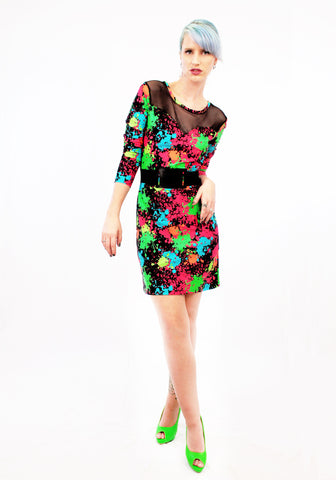 Have A Peep Fishnet And Large Splatter Print Long Sleeve Dress