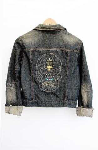 sugar skull embroidered upcycled denim jacket studded jacket street fashion jeans jacket alternative fashion denim jacket