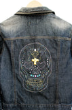 alternative fashion denim jacket  studded jacket street fashion sugar skull embroidered upcycled denim jacket jeans jacket