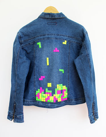 upcycled denim jacket tetris jacket geekery jeans jacket denim jacket 80s Arcade Games